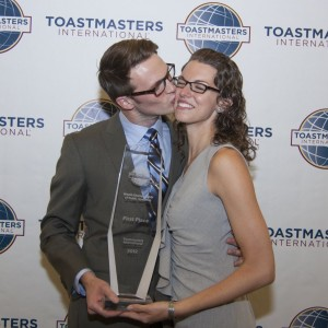 My wife and I after winning the World Championship of Public Speaking in 2012!